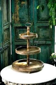 two tier wooden tray tiered stand 3 display serving rustic recycled tie