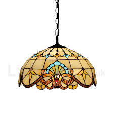 diameter 40cm 16 inch handmade rustic retro tiffany pendant lights multicolor pattern glass shade