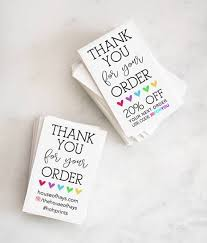 Thank You Note Size Makers Thank You For Your Order With Custom Social Media Or Coupon