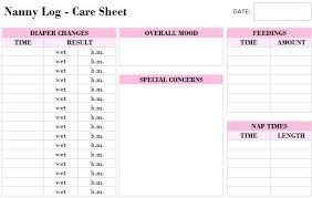 Nanny Daily Report Log Template Notes Pocketapps
