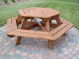 round wood picnic table plans