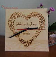 personalised wood end clock square shape 25x25x1 2cm wedding gift anniversary gift enement gift valentines gift gift for the couple