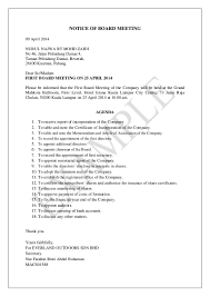 Sample Agenda For First Board Meeting
