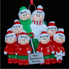 Snow Shovel Family of 8 Personalized Christmas Ornament