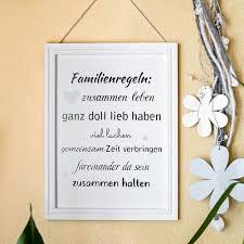 Schild Mit Spruch Familie Familienregeln Bilderrahmen Fotorahmen