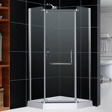 Outstanding dreamline shower doors with rain shower and merola tile wall  for modern bathroom design