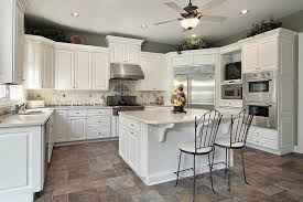 Modern White Kitchen Dark Tile Floors Paint Above The Cabinets Accent Tiles Throughout Creativity Ideas