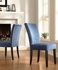 beautiful and eye catching chenille fabric upholsters this set of two parson style chairs these beautiful chairs are finished with durable rubberwood legs