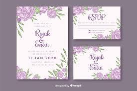 Purple Floral Wedding Invitation Template Vector Free Download