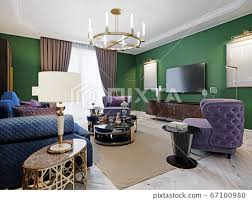living room in art deco style with