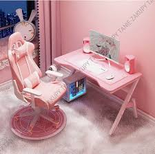 gaming chair and desk 100 x 60 pink set