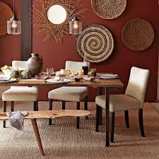rustic dining room art. Furniture : Rustic Dining Room With Rectangle Brown Wood Table And White Chairs Also Sculptured Rug Creative Round Rattan Art