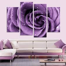 4 panels purple rose with dew print canvas art oil painting for living room wall art picture gift home decoration tableaux in painting calligraphy from  on lavender colored wall art with 4 panels purple rose with dew print canvas art oil painting for