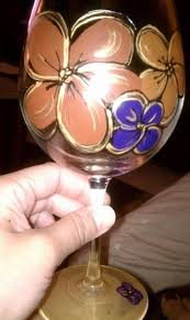 autumn flowers hand painted wine glass