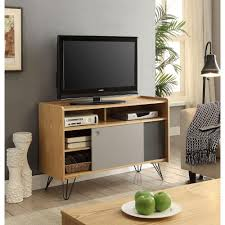 perry ash veneer storage console table with gray and charcoal sliding doors