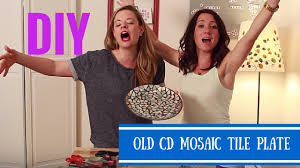 diy mosaic tile plate with old cds crafting under the influence episode 1