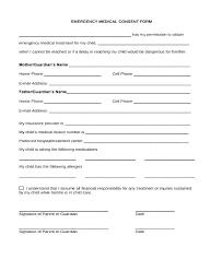 Child Medical Consent Form For Grandparents Medical Permission Slip Template