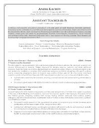 Preschool Teacher Assistant Job Description Resume Example Page 1