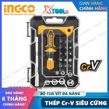 Bộ tua vít tay cầm chữ T 24 chi tiết đa năng INGCO HKSDB0188 đóng mở 2  chiều tự động có nam châm sửa điện thoại máy tính
