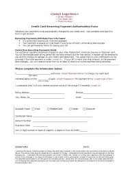 Credit Card Authorization Letter Template Free Templates Payment