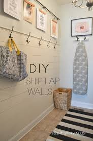 as part of our laundry room makeover for the orc back in november we put up a ship lap wall with hooks on top originally i wanted to ship lap the whole