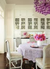los angeles murano glass chandelier dining room traditional with cane chairs linen single panel curtains purple