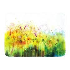 enchanting flower bath rug green pink mat grey fl