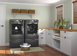 Enchanting Laundry Room Design Idea With Modern Washing Machines And White  Cabinets With Brown Wooden Countertop
