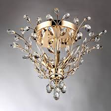 ava 6 light gold indoor crystal flush mount