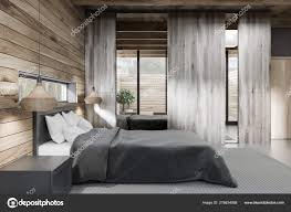 Concrete Floor Bedroom Design Side View Stylish Bedroom Wooden Walls Concrete Floor Gray