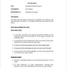 Receptionist Job Description Template 9 Free Word Pdf Format In
