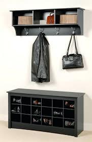 foyer bench coat rack entryway wall mount coat rack w shoe storage bench in black