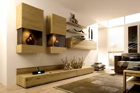 Modern Decorated Living Rooms Unfinished Wood Style Living Room Wall Units With Glass Display