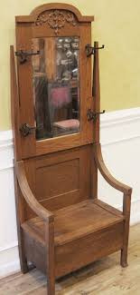 antique hall stand tree coat rack oak mission arts and crafts style with storage seat and mirror back american c 1900 for