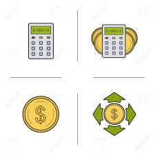 Banking And Finance Color Icons Set Calculator Dollar Coin