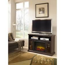 a console electric fireplace in espresso