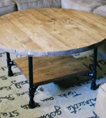 teak color rustic reclaimed wood round coffee table designs ideas for living room decoration