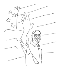 Small Picture Bluebonkers Barack Obama coloring page Obama flag