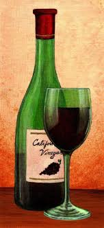 Wine Art Paintings | Wine Glass with Bottle Painting - Wine Glass with  Bottle Fine Art