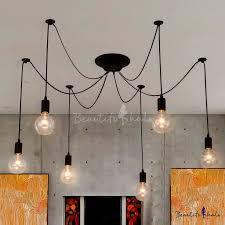 simple 6 light edison bulb black led multi light pendant