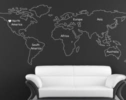 outlined world map decal with continents vinyl wall sticker decals home decor wall decals stick on wall art by outlined world map sd 090 on vinyl wall art decals graphics stickers with world map wall decal vinyl wall sticker decals home decor art