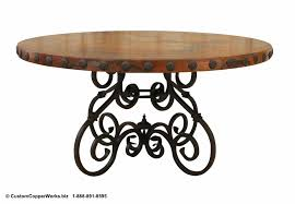 round copper top dining table 60 diameter with 2 5 side drop and