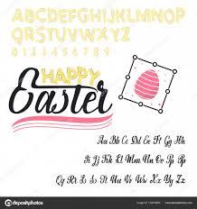 happy easter font vector alphabet hand lettering script font typography alphabet for