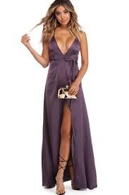 Sanae Purple Satin Evening Dress