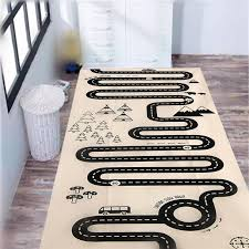 car track road trip floor rug mat children crawling mat bedroom car road mat rug