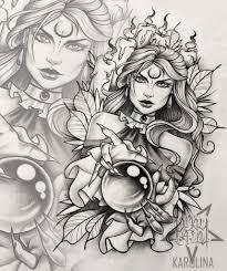 ведьма с шаром эскиз в неотраде для тату на руке либо татуировки на
