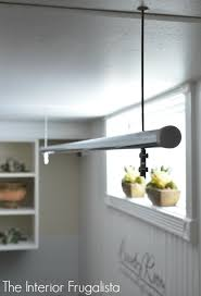 laundry room suspended clothes drying rod
