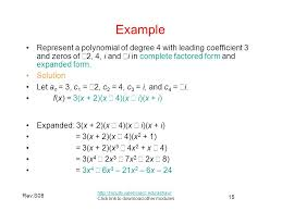example represent a polynomial of degree 4 with leading coefficient 3 and zeros of 2