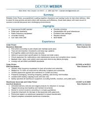 Order Picker resume example