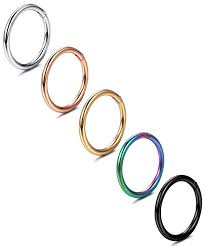 Nose Hoop Size Chart Jstyle 5 Pcs A Set 316l Stainless Steel Septum Piercing Nose Hoop Clicker Ring Hypoallergenic 16g